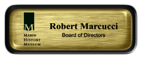 Metal Name Tag: Brushed Gold with Epoxy and Black Metal Border