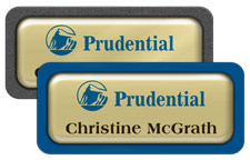 Shiny Gold Metal Name Tags with Plastic Borders and Epoxy