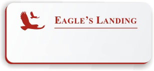 Blank Smooth Plastic Name Tag with Logo: White and Crimson - LM922-206