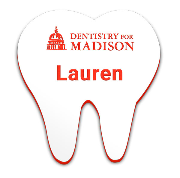 Smooth Plastic Tooth-Design2 Shape Name Tag - 1.85 x 1.73 inches