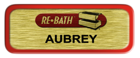 Metal Name Tag: Brushed Gold with Red Metal Border