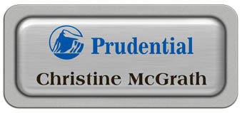 Metal Name Tag: Brushed Silver Metal Name Tag with a Silver Plastic Border and Epoxy