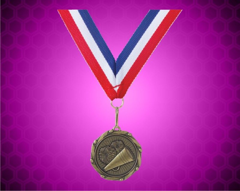 Gold Cheer Medal w/ Red, White, and Blue Ribbon