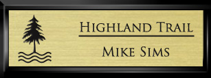 Framed Name Tag: Black Plastic (squared corners) - Euro Gold and Black Plastic Insert