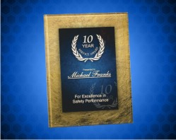 Gold/Blue Acrylic Art Plaque with Easel