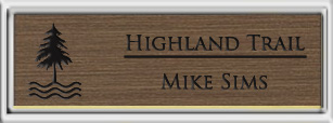 Framed Name Tag: Silver Plastic (squared corners) - Deep Bronze and Black Plastic Insert