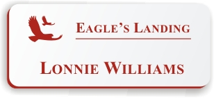 Smooth Plastic Name Tag: White with Crimson - LM922-206