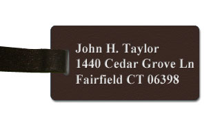 Textured Plastic Luggage Tag: Coffee Bean with White - 822-892