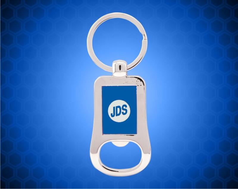 """2 1/8"""" Silver/Blue Laserable Bottle Opener Keychain"""