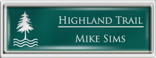 Framed Name Tag: Silver Plastic (squared corners) - Evergreen and White Plastic Insert with Epoxy