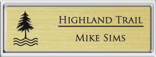 Framed Name Tag: Silver Plastic (squared corners) - Euro Gold and Black Plastic Insert