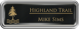 Framed Name Tag: Silver Plastic (rounded corners) - Black and Gold Plastic Insert with Epoxy