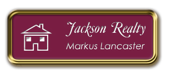 Gold Metal Framed Nametag with Claret and White