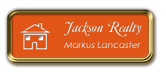 Gold Metal Framed Nametag with Tangerine and White