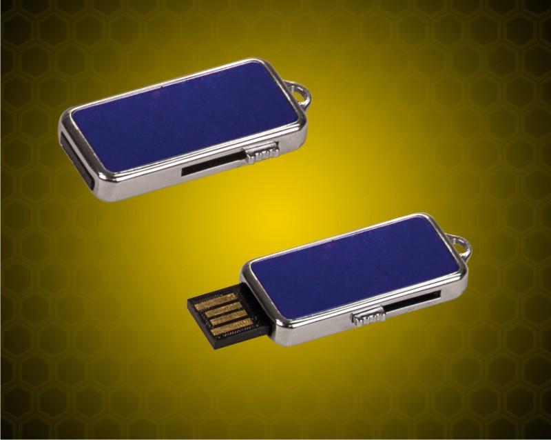 """3/4"""" x 1 1/2"""" x 1/4"""" inch 4GB Blue USB Metal Flashdrive"""