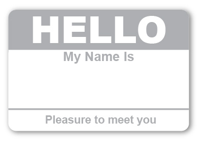Sticker Hello My Name is Gray Name Tags