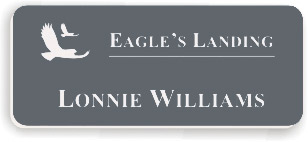 Smooth Plastic Name Tag: China Blue with White - LM922-382