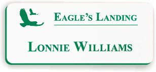Smooth Plastic Name Tag: White with Pine Green