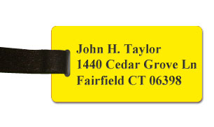 Smooth Plastic Luggage Tag: Canary Yellow with Black - LM922-704