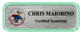Metal Name Tag: Brushed Silver with Shiny Green Metal Border