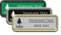 Rounded Frame Tags with Engraved Logo/Text