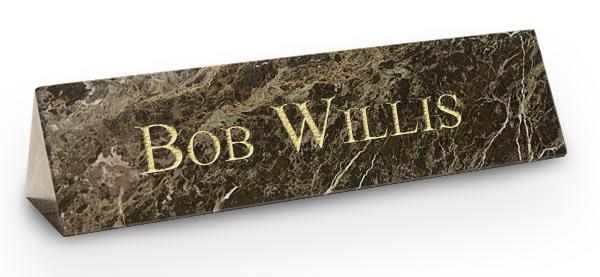 Green Marble Triangle Desk Plate with Gold Engraving