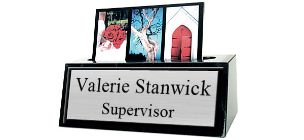 """Black Marble Card Holder Small 5"""" Desk Name Plate - Brushed Silver Metal Plate with Black Border"""