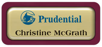 Metal Name Tag: Shiny Gold Metal Name Tag with a Burgundy Plastic Border and Epoxy