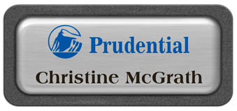 Metal Name Tag: Brushed Silver Metal Name Tag with a Graphite Plastic Border and Epoxy