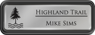 Framed Name Tag: Black Plastic (rounded corners) - Smooth Silver and Black Plastic Insert with Epoxy