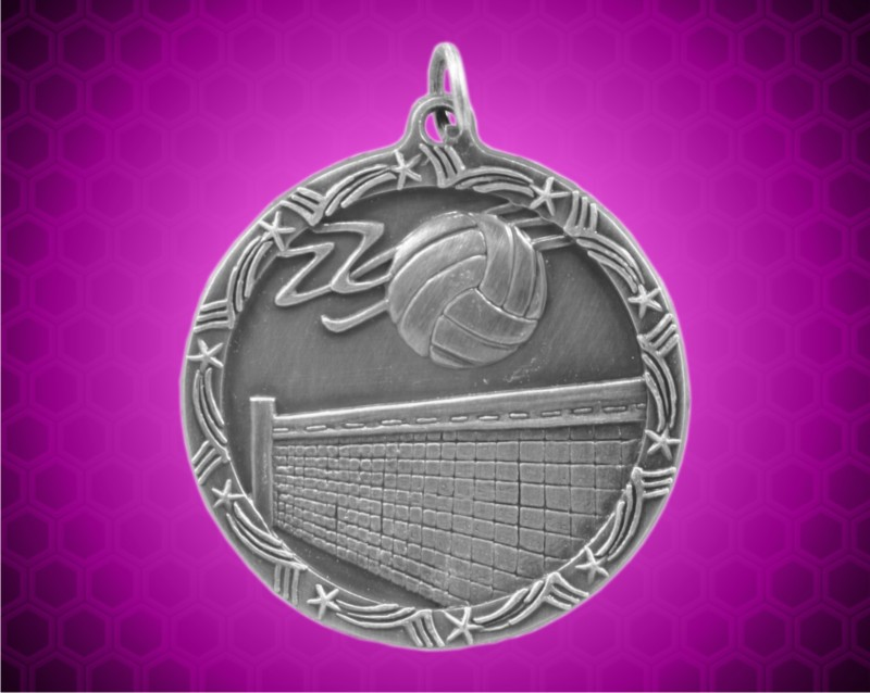2 1/2 inch Silver Volleyball Shooting Star Medal