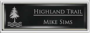 Framed Name Tag: Silver Plastic (squared corners) - Black and Silver Plastic Insert with Epoxy