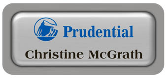 Metal Name Tag: Shiny Silver Metal Name Tag with a Grey Plastic Border and Epoxy