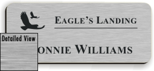 Smooth Plastic Name Tag: Brushed Aluminum with Black - LM922-354