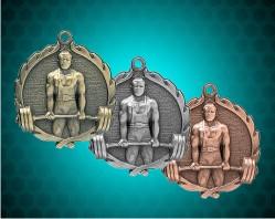 1 3/4 Inch Weightlifting Wreath Medal