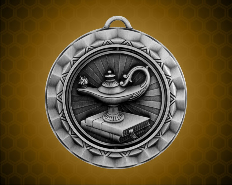 2 516 Inch Silver Lamp Of Knowledge Spinner Medal