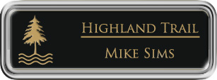 Framed Name Tag: Silver Plastic (rounded corners) - Black and Gold Plastic Insert