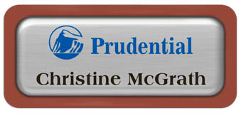 Metal Name Tag: Brushed Silver Metal Name Tag with a Canyon Plastic Border and Epoxy
