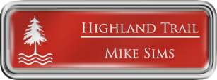 Framed Name Tag: Silver Plastic (rounded corners) - Crimson and White Plastic Insert with Epoxy