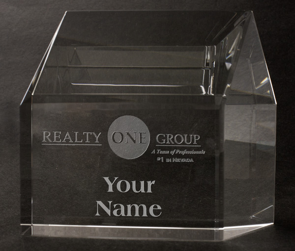 Realty One Crystal House Paperweight