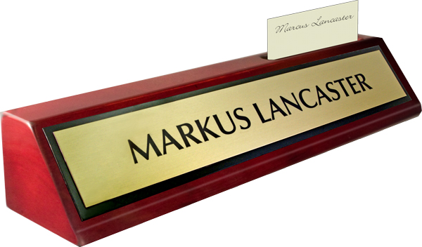 Rosewood Piano Finish Deskplate - Brushed Gold Metal Name Plate with a Black Border, Card Slot