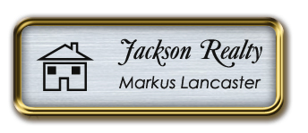 Gold Metal Framed Nametag with Brushed Aluminum and Black
