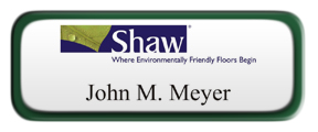 Metal Name Tag: White with Green Metal Border