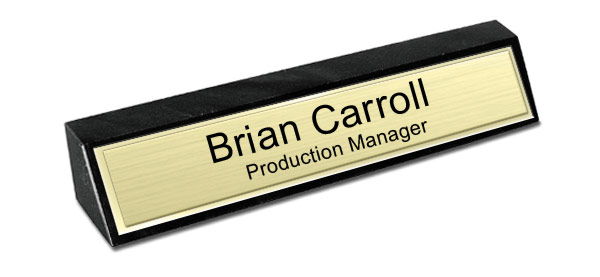 Black Marble Desk Name Plate - Brushed Gold Metal Plate with Shiny Gold Border