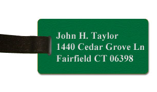 Textured Plastic Luggage Tag: Jungle Green with White - 822-962