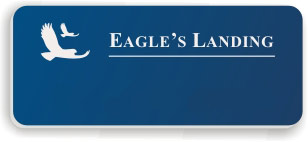 Blank Smooth Plastic Name Tag with Logo: Patriot Blue and White - LM922-552