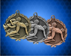 1 3/4 Inch Wrestling Wreath Medal