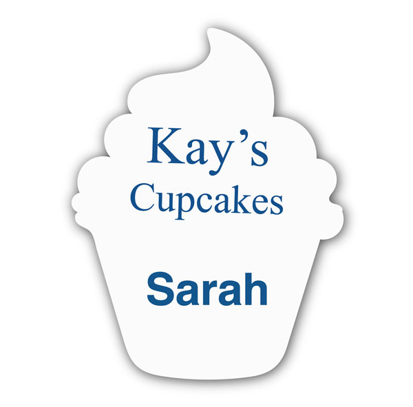 Smooth Plastic Cupcake Shape Name Tag - 3 x 2.26 inches