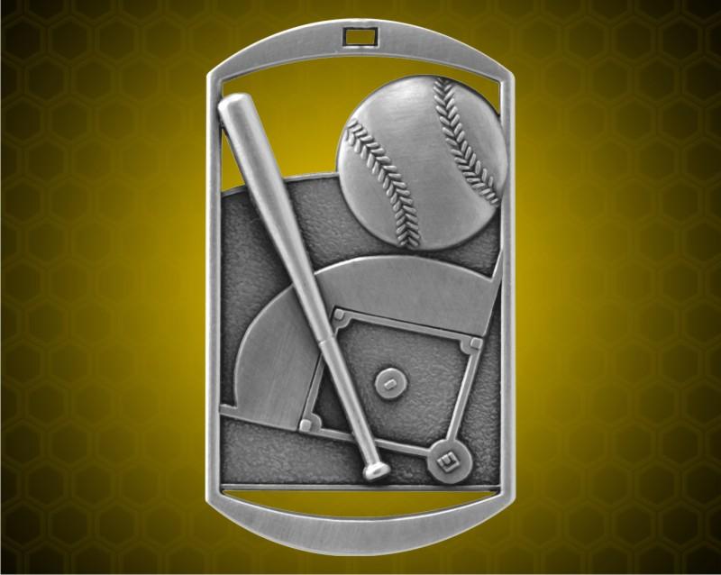 2 3/4 inch Silver Baseball DT Medal