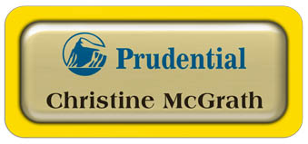 Metal Name Tag: Shiny Gold Metal Name Tag with a Yellow Plastic Border and Epoxy